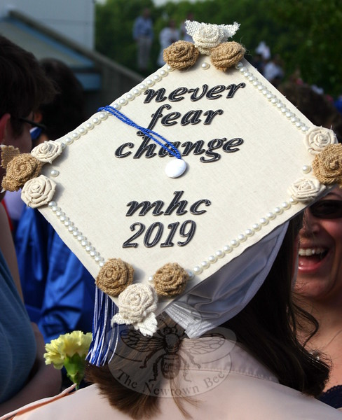 "One graduate's decorated mortarboard echoed some of the words offered by Valedictorian Sarah Lynch, who admitted that starting over can be scary and unnerving. The Class of 2015 should trust, she said, that the NHS faculty, parents and friends have prepared the graduates to handle ""whatever life throws at us."" (Hicks photo)"