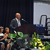 "Newtown Middle School Principal Tom Einhorn welcomed everyone to his school's Moving Up Ceremony, on Monday, June 15, at Western Connecticut State University's O'Neill Center, and in-troduced himself as the school's ""proud principal."" (Hallabeck photo)"