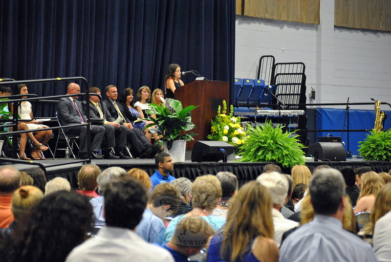NMS graduating eighth grader Grace Howgego was one of the students who spoke as representatives of the different clusters at the school. Grace represented cluster 8 Red.     (Hallabeck photo)