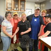 After 25 years, the Newtown United Methodist Church Pasta Project Founder Martha Millett, left, is handing the event over to a new group of organizers. Also at the 25th anniversary of the monthly Pasta Dinner Saturday, June 6, were, from left, Diane Rockwell, who is retiring after 17 years, and taking the reins are Ellie Lewis and Dennis Bloom, Suzanne Stawiasz, and Barbara Bloom. Ms Stawiasz has been one of the lead organizers of the pasta project in recent years. (Bobowick photo)