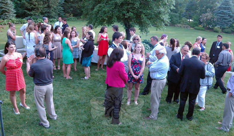 The Newtown Scholarships Association (NSA) held its Third Annual Awards Reception at the Dana-Holcombe House on Thursday, June 11. Students who earned awards this year mingled with NSA members and school district educators and administrators during the event. (Hallabeck photo)