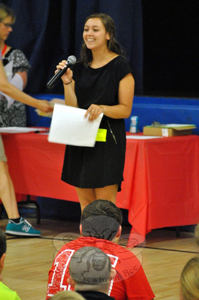 Newtown High School 2015 graduate Katelyn Zimmerman spoke at Middle Gate Elementary School on Tuesday, June 16, and shared memories and advice with the graduating fourth grade students. (Hallabeck photo)