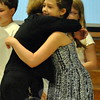 Head O' Meadow Elementary School student Emily Jackson received a hug from math/science specialist Gail Maletz during the Awards Assembly on June 16. Emily earned the highest score in the school's Math Superstar program. (Hallabeck photo)