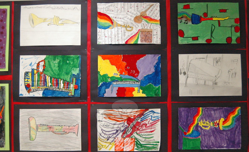 Hawley student artists used a variety of types of line to illustrate the rhythm, instruments, tempo, and mood they heard in selected pieces of music, according to a description on view with these works of art. (Hallabeck photo)