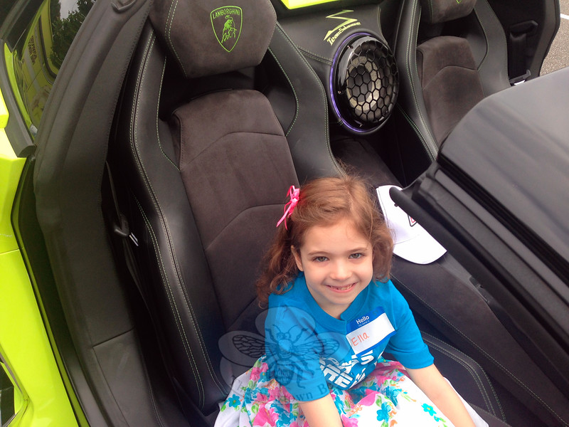 Ella Grace Renak, a rising third grader at Middle Gate Elementary School, was selected for the Kindness Dream Ride; she got to ride in a Lamborghini Aventador. (Gallagher photo)