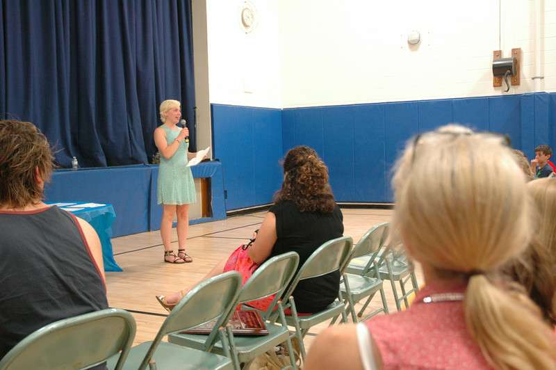 Newtown High School 2014 graduate and the recipient of this year's Middle Gate PTA Scholarship Bethany Dubois visited Middle Gate for the school's awards assembly on Wednesday, June 18. (Hallabeck photo)