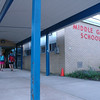 Middle Gate School students entered the school at the start of the last day of school.  (Hallabeck photo)