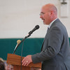 Newtown Middle School Principal Thomas Einhorn addressed the gathered assembly on Friday, June 13, to begin the school's culminating awards assembly. (Hallabeck photo)