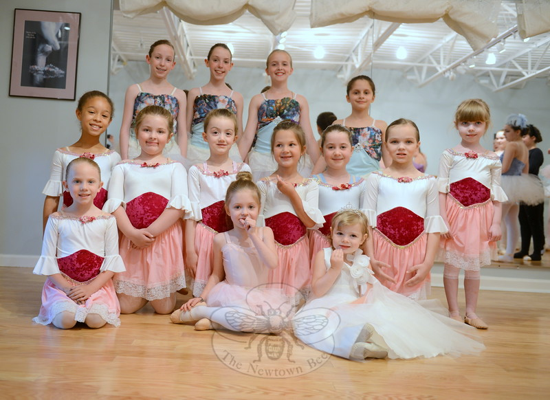 Sleeping Beauty will feature dancers of all ages, including the youngest from Newtown Centre for Classical Ballet. In the top row, from left, are Annie Fowler, Chelsea Fowler, Taegan Smith, and Thea Trotta, four members of Fairy Court). In the center row, also from left, are Palace Princesses, played by Serena Newnham, Mary Morrison, Hayden Hughes, Vivien Vass, Lila Spencer, Laura Delp, and Caitlin Potter. In front, on the left, is another Palce Princess, Micah Loutensock. Front row center and right are two of Cinderella's Birds, being placed by Morgan Ferris and Grace Barzetti; Grace is also playing Baby Aurora. (Bobowick photo)