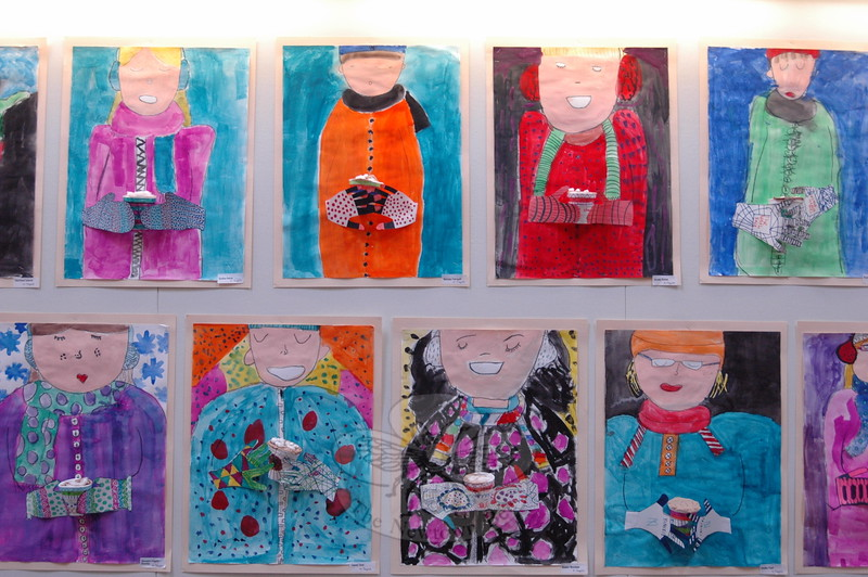 """The """"Winter Cocoa/Self Portraits,"""" created by fourth graders, were a big hit at the school's art show event, according to Head O' Meadow art teacher Donna Perugini. (Hallabeck photo)"""