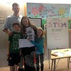 Middle Gate math/science specialist Jill Bracksieck, second from right, and her family members, husband Matt, son Orion, and daughter Maia, during Middle Gate Elementary School's annual STEM Night, held Thursday, May 21. (Gallagher photo)