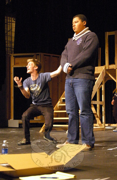 Newtown High School seniors Kyle Mangold, left, and Aidan Petershack right, rehearsed for the high school's upcoming musical production of City of Angels on Friday, March 6. (Hallabeck photo)