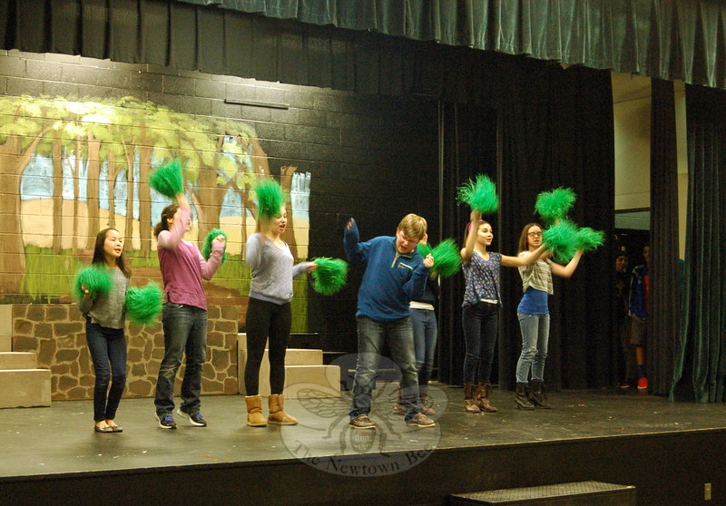 """Jackson Mittleman, who is set to play Shrek in the middle school's upcoming musical production, """"Shrek The Musical Jr,"""" rehearsed on Monday, March 9. (Hallabeck photo)"""