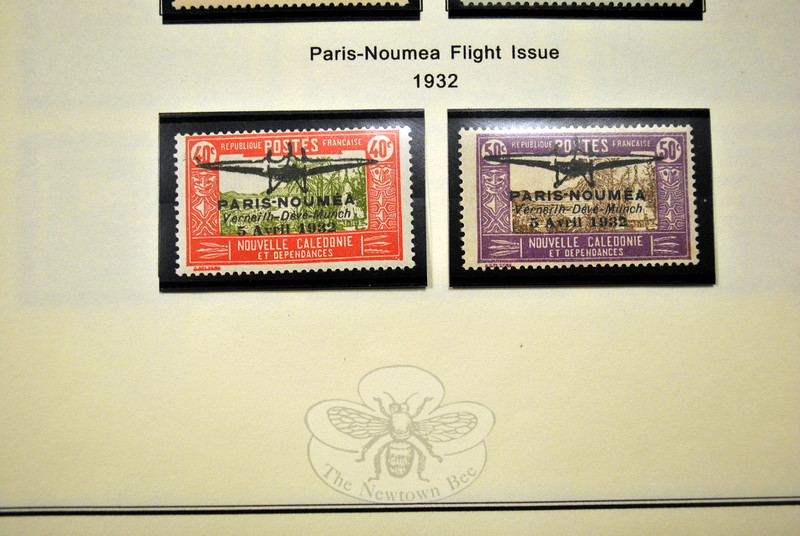 Although he cannot even count the stamps in his many collections, these two rare Paris Noumea Flight stamps are among Mr Hamilton's favorites. (Crevier photo)