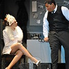Newtown High School students Katie Wolff and Aidan Petershack rehearsed on Tuesday, March 17, for the high school's musical production of City of Angels. (Hallabeck photo)