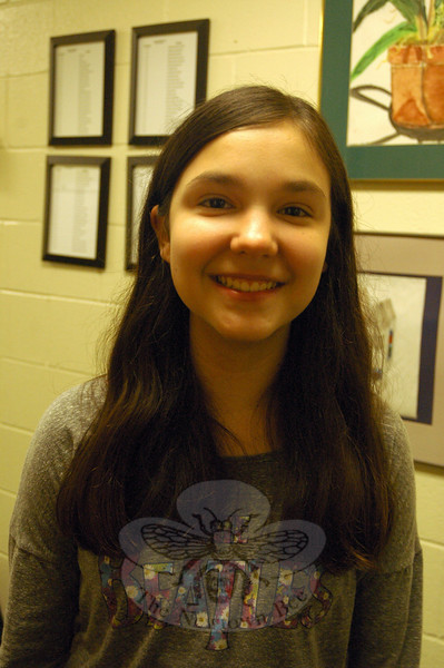 The Newtown Bee: Why should people go see Newtown Middle School's production of Shrek The Musical Jr, showing March 27 to 29? Lindsay Dievert: It's a really fun and exciting show and if you like the movie, you should come see the play. There's a lot of familiar characters in it. (Hallabeck photo)
