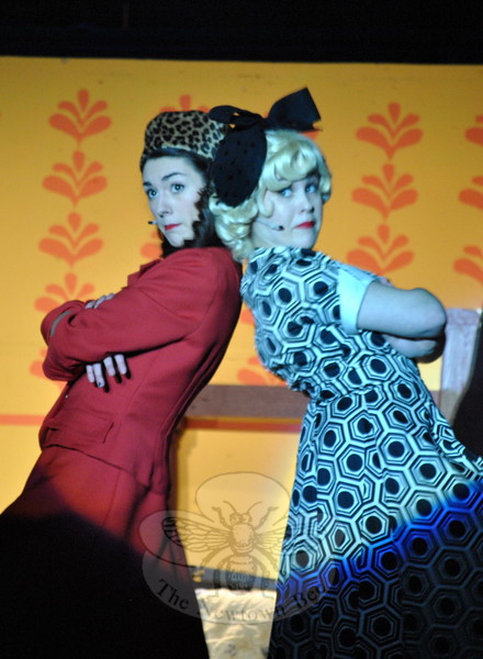 Newtown High School students Emily Crebbin, left, and Kylie Gallagher rehearsed on Tuesday, March 17, for the high school's musical production of City of Angels. (Hallabeck photo)