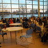 Newtown High School teacher and NICE Program Manager and Europe and Spain Project Co-Manager Liz Ward-Toller, left, spoke to a group of NHS students and 21 student delegates visiting from I.E.S. Las Encinas School in Spain, on Monday, March 16. The students and two teachers are visiting through the Newtown International Center for Education (NICE). (Hallabeck photo)
