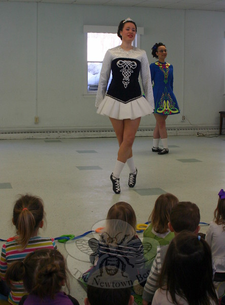 Dancers from The Gray School of Irish Dance visited Wesley Learning Center on March 9 to offer a pre-St Patrick's Day dance performance.  The first dance of the morning was a single jig, performed by Sarah Mallon (center, dancing) and Mary Beth Hayes (waiting to return to the dance area). (Hicks photo)