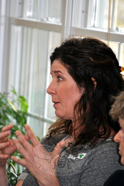 Newtown resident Kate Mayer, one of nearly 30 guests at a private luncheon to meet Utah shooting survivor Carolyn Tuft, makes the point that it is a voting problem, not a gun problem, blocking progress in the fight for stronger gun laws in America. (Crevier photo)