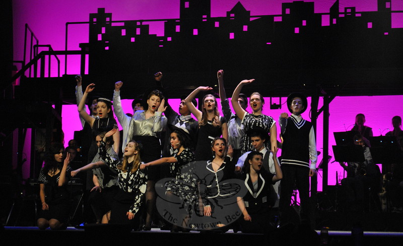 Newtown High School students rehearsed on Tuesday, March 17, for the high school's musical production of City of Angels. (Hallabeck photo)