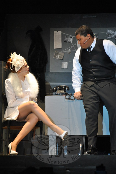 Katie Wolff and Aidan Petershack played the roles of Alaura/Carla and Stone, respectively, in the high school's musical production of City of Angels. (Hallabeck photo)