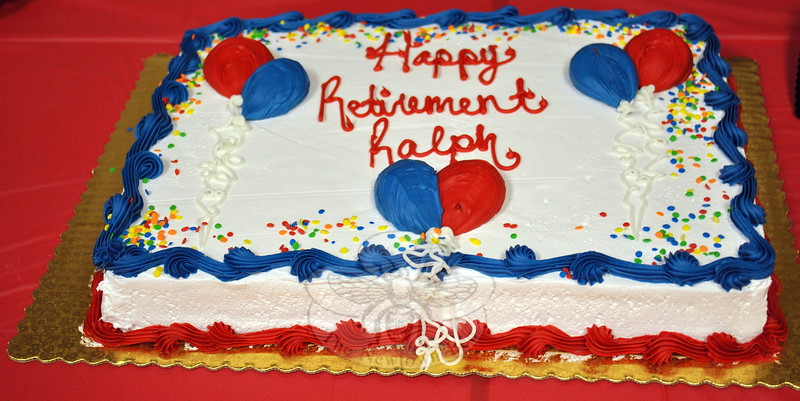 Cake for longtime C. H. Booth Library custodian Ralph Scogno's retirement party, held on Friday, March 20. (Crevier photo)