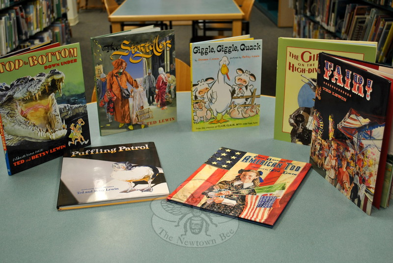 Library patrons can soon look forward to borrowing these books, and several others by children's book illustrator/authors Ted and Betsy Lewin. The Lewins recently donated over two dozen books to the Children's Department, in response to a request by family friend Julia Provey of Sandy Hook. (Crevier photo)