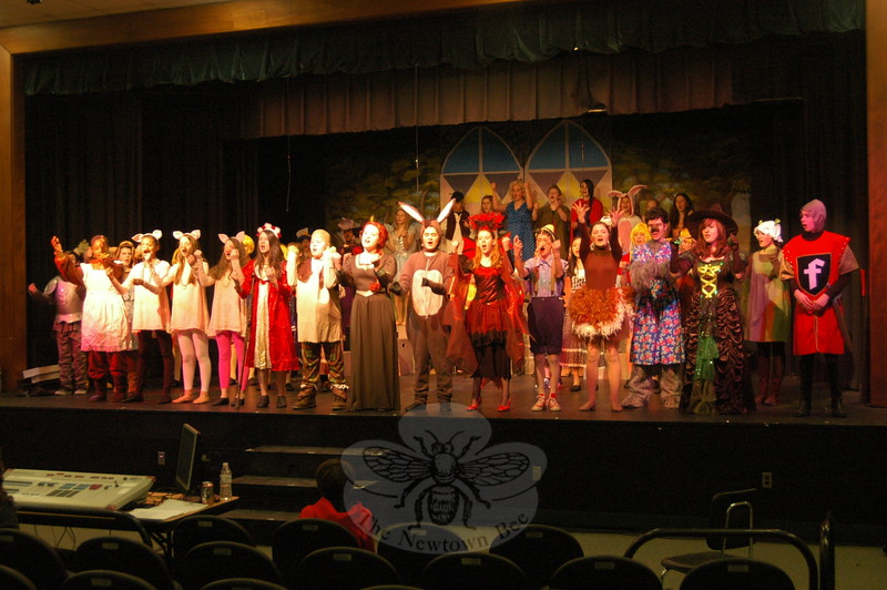 Newtown Middle School students rehearsed for the school's upcoming production of Shrek The Musical Jr on Monday, March 23. (Hallabeck photo)