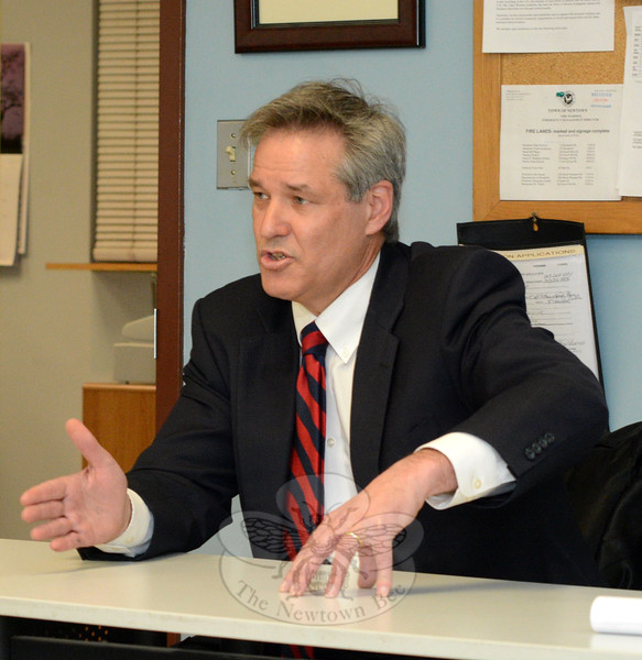 Borough Warden James Gaston, Sr, met with Police Commission members on March 24 to discuss traffic issues, with a focus on the flagpole intersection of Main Street, Church Hill Road, and West Street. Mr Gaston recommended that a study of traffic problems townwide be performed. (Gorosko photo)