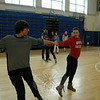 Newtown High School Spanish 4 students Kelsey Nicholson and Justin Nathenson rehearsed their moves for a dance contest during Argentina Day. (Hallabeck photo)