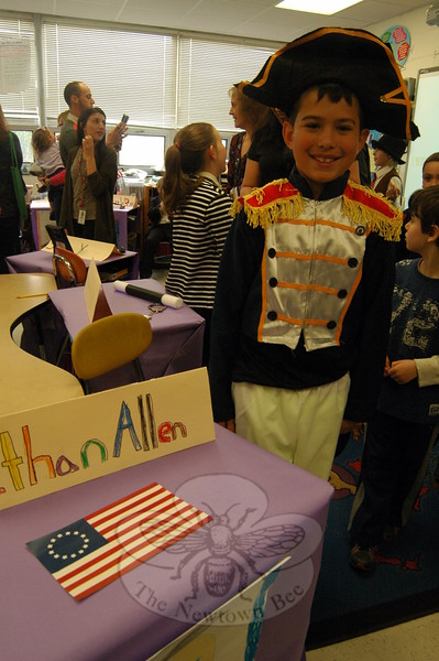Middle Gate Elementary School fourth graders presented their Living Biographies projects on Friday, May 1. Each student represented their person they studied during the event. Dylan Kraus studied Ethan Allen. (Hallabeck photo)