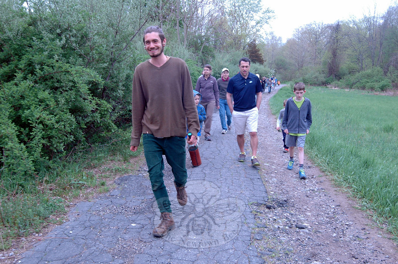 Andrew Mangold, left, led a nature walk and educational tour on Saturday, May 9, that began at the end of Old Farm Road and went through the 34.4-acre site of the future Catherine Violet Hubbard Animal Sanctuary. (Hallabeck photo)