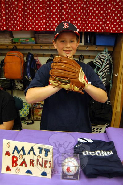 Middle Gate Elementary School fourth graders presented their Living Biographies projects on Friday, May 1. Each student represented their person they studied during the event. Kyle Miller studied Matt Barnes. (Hallabeck photo)