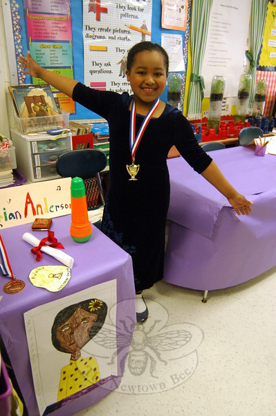 Middle Gate fourth grader Sabrina Spraggins chose Marian Anderson as her Living Biographies subject. (Hallabeck photo)