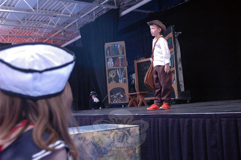 Fraser Woods Montessori School first grader Finn Sommer rehearsed his role as William Shakespeare in the school's original production of All the World's A Stage on Thursday, May 7, ahead of the performance for family and friends on Friday. (Hallabeck photo)