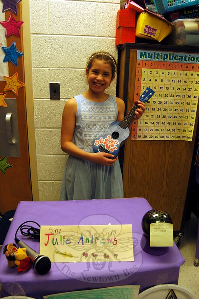 Middle Gate fourth grader Malie Soto studied Julie Andrews as her Living Biographies subject. (Hallabeck photo)