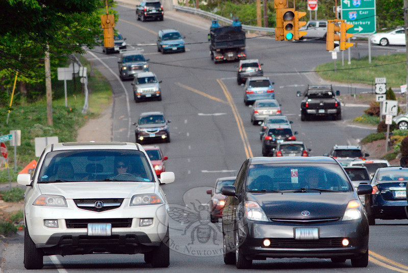 Looking eastward on Church Hill Road near its intersection with Commerce Road during the evening rush on Wednesday, May 13. The area has the highest motor vehicle accident rate of any place in town, largely due to conflicts caused by turning vehicles. (Gorosko photo)