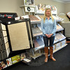 Tricia Mathison-Benvenuti stands in the back showroom of her new business, Fine Floors By Mathison, located at 85 South Main Street. Ms Mathison-Benvenuti brings more than 25 years of floor covering experience to her new venture. (Crevier photo)
