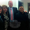Dana Manning, left, was unanimously selected by the Board of Education on May 19 to serve as assistant principal at Newtown High School following the retirement of Assistant Principal Kathy Boettner, right, this summer. NHS Principal Lorrie Rodrigue, second from left; and Assistant Principals David Roach, center, and Jaime Rivera also attended Tuesday's meeting. (Hallabeck photo)