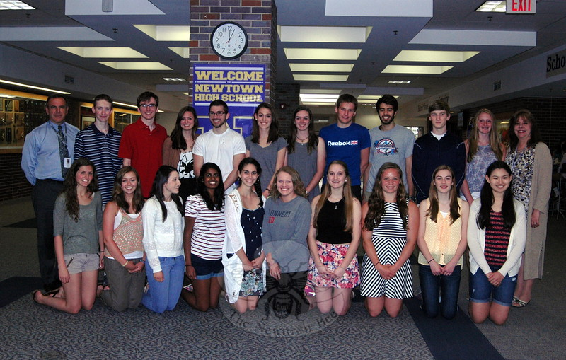 Out of the Class of 2015's 459 students, Newtown High School Principal Lorrie Rodrigue told the students assembled before her on Tuesday, May 12, that they had achieved grade point averages to place them in their graduating class's top five percent. Ms Rodrigue, standing right, later joined the students for a photo with Superintendent of Schools Joseph V. Erardi, Jr, standing left. The students achieving the honor this year are (named alphabetically, not in the order pictured) Akash Ahuja, John Carlson, Caroline Chocholak, Kelly Coughlin, David Csordas, Alexandra Dittrich, Hannah Grant, Brenna Kelly, Sean Kemsley, Christopher Koch, Anita Luxkaranayagam, Sarah Lynch, Veronica Moyer, Micaela Nowacki, Brandon O''Sullivan, Alexa Reilly, Sarah Riccio, Nicholas Roche, Shelby Tolla, Tonya Tucker, Zachary Weiland, Katherine Wolff, and Katelyn Zimmerman. In addition, Sean Kemsley, Nicholas Roche, and Katherine Wolff made the top five percent for the Class of 2015, but were not present for this photo. (Hallabeck photo)