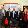 From left is Newtown Savings Bank Business Development Officer Brian Amey, Senior VP of Commercial Lending Tony Giobbi, President and CEO John Trentacosta, VP and Regional Manager Brian Fonck, and VP and Public Relations Director Tonya Truax. NSB was the Title Sponsor of the 12th Annual Destination Newtown, held on May 20. (Bobowick photo)