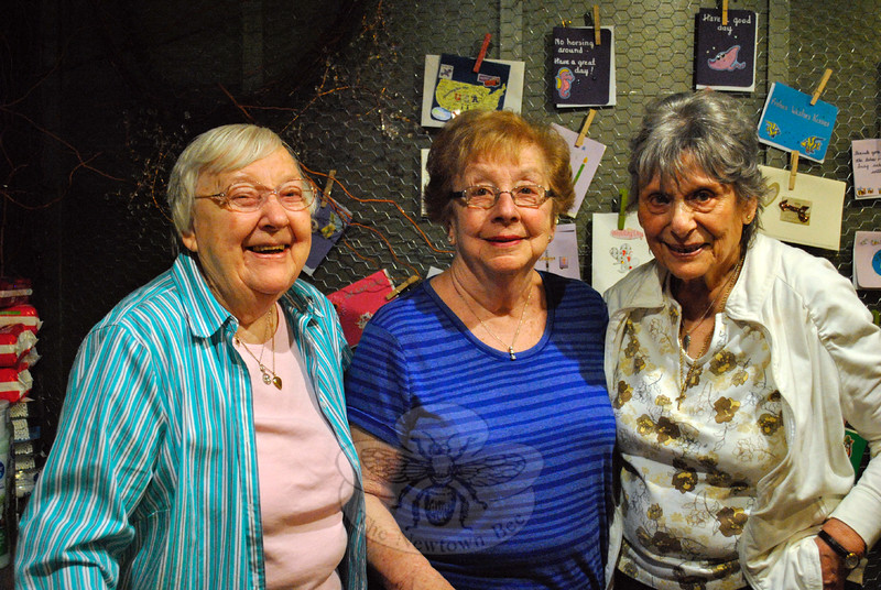 From left, Lis Christensen, Gloria Testa, and Lois Zenk are the three Maplewood at Newtown residents who have revived and now operate The Country Store at the senior living facility. The work provides a social outlet and a sense of purpose. (Crevier photo)