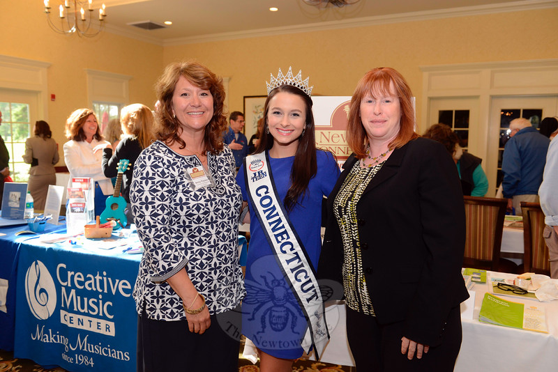Miss Jr Teen Connecticut Elle Sauli, a freshman at Newtown High School, attended Destination Newtown, held on May 20. With her are Newtown Economic Development Coordinator Betsy Paynter, left, and Economic Development Commission Chair Jean Leonard. (Bobowick photo)