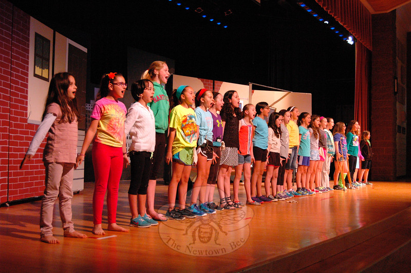 Reed Intermediate School students rehearsed on Tuesday, May 5, for the May 8 and May 9 showings of Annie Jr. (Hallabeck photo)