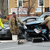 Police and Hook & Ladder volunteer firefighters responded about 3:45 pm on May 1 to a two-vehicle accident at the flagpole intersection of Main Street, Church Hill Road, and West Street. The collision involved motorist Matthew Sarli, 22, of Monroe, who was driving a 2011 Honda Civic coupe, and motorist Blair Hamilton, 17, of 18 Cobblestone Lane, who was driving a 2009 Subaru Forester SUV, There were no injuries. Police said they issued Sarli a written warning for passing on the right, and issued Hamilton a written warning for a stop sign violation. (Gorosko photo)