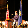 Former US Marine Jason Georgetti shared the Veterans Remarks during the Newtown High School Veterans Day assembly on Wednesday, November 11. (Hallabeck photo)