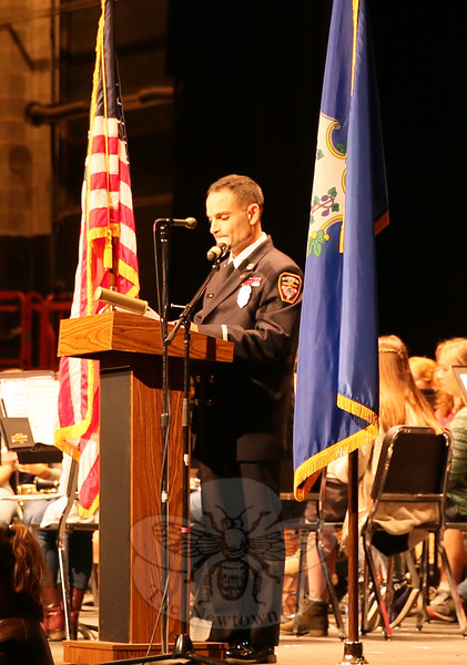 Former US Marine Ray Corbo shared the Community Veteran Remarks during the high school's Veterans Day assembly. (Hallabeck photo)