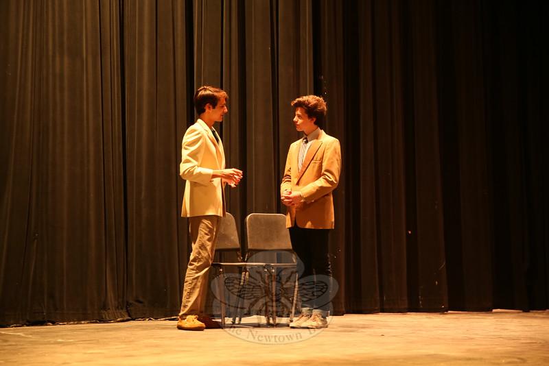 Joseph Verga, left, and Tom Coppinger rehearsed on Wednesday, November 4. (Hallabeck photo)