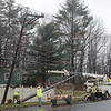 A Frontier Communications crew starts work to install a new utility pole on South Main Street, just north of its intersection with Cold Spring Road, on Wednesday morning, A heavy dump truck had hit and snapped a utility pole, requiring its replacement. A half-mile section of South Main Street was closed to through-traffic for eight hours while repair work was underway. (Gorosko photo)